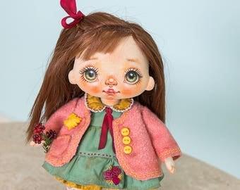 Textile doll, rag doll, fabric doll, cloth doll, art doll, vintage doll, interior doll, OOAK doll, home decor, green, doll - AliceMoon #94