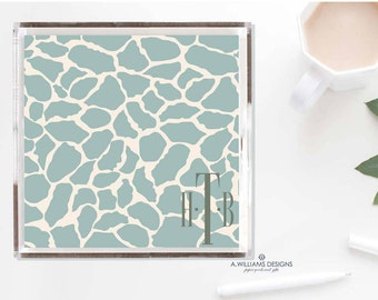 Monogram Giraffe Print Tray/Sage and cream luciteTray/ Monogrammed office desk organizer Tray/ Acrylic catch all in two sizes 6x6 & 12x12