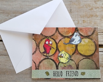 Bird Card - Hello Friend - Bird Greeting Card - Friend Greeting Card - Handmade Cards Stamp - Tim Holtz Card - Bird Graphic - Colorful Card
