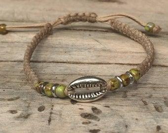beach bracelet silver cowrie charm