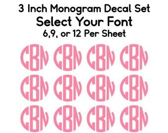 Monogram Decal Set, Monogram Set, Back to School Monogram Decals, Monogram Bundle, School Supply Decals, Binder Decals, Monogram Gifts