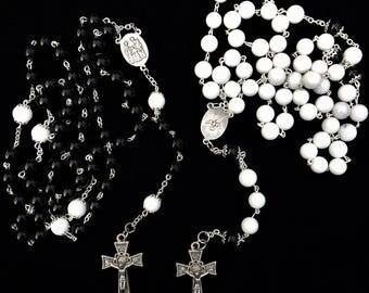 Black and White Onyx Wedding Rosary Set