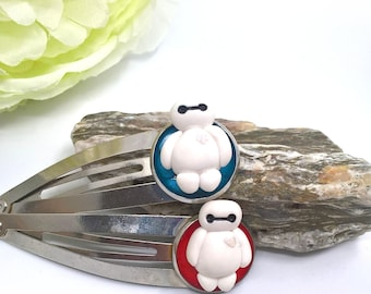Two Baymax inspired polymer clay hair clips