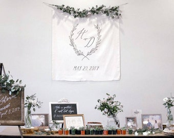 Custom Calligraphy Fabric Banner // Botanical Wreath Crest Banner
