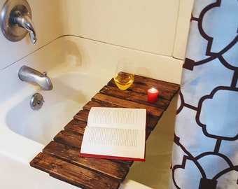 Rustic bath tray, made from reclaimed pallet lumber with built in stemmed wine glass holder