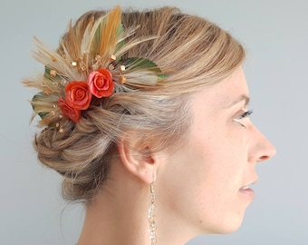Floral Haircomb | Feather Wedding Accessory | Hair Adornment | Bridal Headpiece | Handmade [Ella Haircomb]