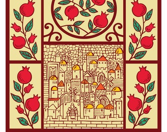 Shana Tova Rosh Hashanah - Happy Rosh Hashanah - Jewish New Year Card - Happy New Jewish Year-Holiday Card Hand Drawing