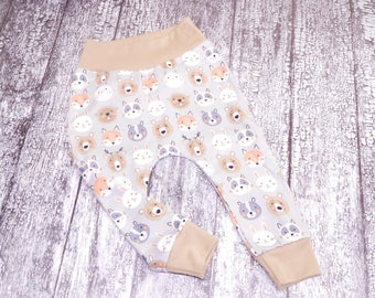 woodland animals baby pants, gray brown baby leggings with forest animals, gray jogger pants with deer, with fox, with bears, toddler pants
