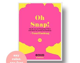 Oh Snap Hashtag Sign Snapchat Filter * Oh Snap Sign for Geofilter, Oh Snap Custom Hashtag Sign Printable, Hashtag Print, Hashtag Bday Sign