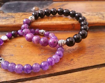 Small wrist, Yoga purple bracelet, stone bracelet for women