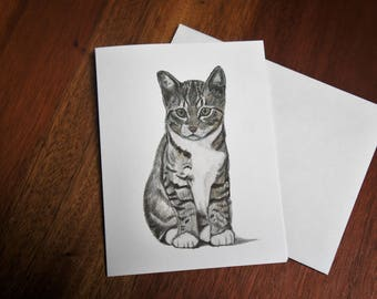 Kitten Greeting Card, Cat Note Cards, All Occasion Card, Blank Inside