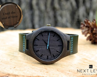 Mens Wooden Watch, Personalized Mens Watch, Engraved Mens Wrist Watch, Father's Day Gift, Engraved Wood Watch, Personalized Wooden Watch