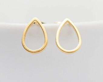 Earrings Gold-plated drops Teardrop Matt