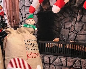Personalized Burlap Santa Claus Santa Sack, santa sack, personalized, christmas bag, santa bag, burlap bag, burlap santa bag, santa, bag