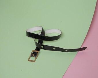 black and white belt vintage belt vinyl leather patent leather belt two-sided belt vtg belt gold buckle belt thin belt
