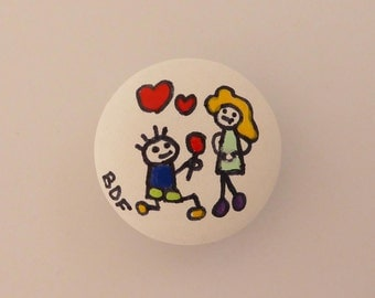 Love button in leatherette 2.8 cm, for bracelet, hand painted.
