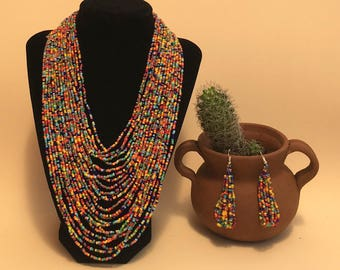Mexican Necklace and Earings. Colorfull necklace. Mexican Necklace. Hand Made Necklace