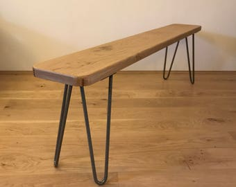 Handmade, Solid Oak, Bespoke, Mid Century, Hairpin Legs, Rustic, Scandinavian Style, Bench, Can Custom Make!