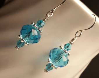 Light Blue Glass Crystals Silver Drop Dangle Handmade Wire Earrings