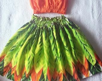 girls hawaiian hula skirt, girls hula outfit, hawaiian ti leaf print hula costume, 2 piece set hula outfit, hawaiian dress 6 - 12