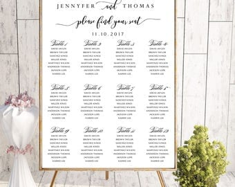PRINTABLE Wedding Seating Chart, Wedding Seating Chart, Wedding seating template, Navy seating chart, Seating chart, Find Your Seat SC61