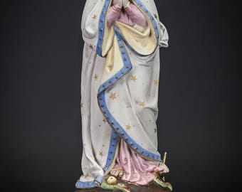 "15"" Antique Virgin Mary Bisque Porcelain Statue Madonna Figure Serpent"