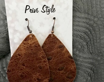 Brown Ostrich Leather Teardrop Earrings