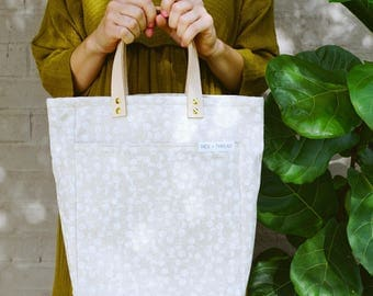 The A4 Tote: White Tiny Scandi circles on natural canvas