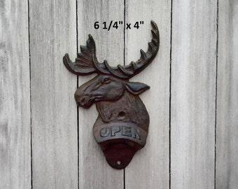 Moose Bottle Opener, Cast Iron Bottle Opener, Wall Mount Bottle Opener, Metal Moose Opener, Cabin Decor, Woodland, Lodge, Gift For Him