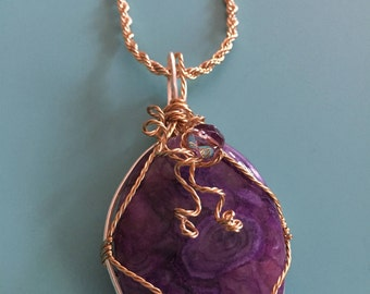 Pendant Necklace / Wire Wrapped Pendant / Stone Pendant / Statement Pendant / Gold Pendant / Purple Pendant / Statement Pendant