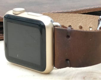 Leather Apple iWatch 38 mm - 42 mm Band | Series 1 / 2 / 3 iWatch Strap / Band Dark  Brown
