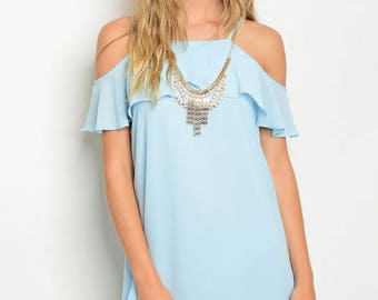 Baby Blue at the Bay Cold Shoulder Dress
