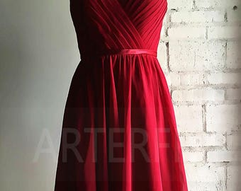 Bridesmaid Dress Raspberry Chiffons, Lovly Prom Dress,V Neck Dress ,Cocktail dress
