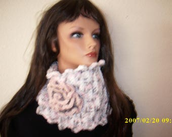 freeform crochet neck warmer, chunky cowl scarf with rose,one in color avail.