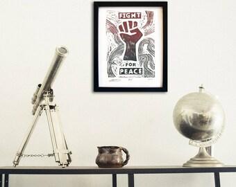 "Original Lino Print, ""FIGHT FOR PEACE"", Handmade, Limited Edition Artwork"