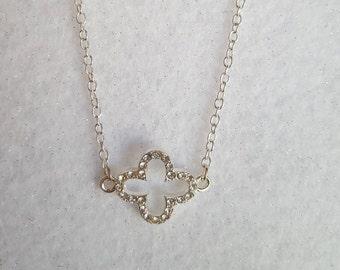 Rhinestone Clover Necklace