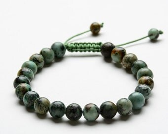AFRICAN TURQUOISE BRACELET - 8mm Natural Stone Beaded Bracelet - Healing Stones - Yoga Jewelry