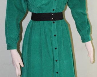 Small,Preppy, petite, kelly green corduroy dress, vintage 1980's
