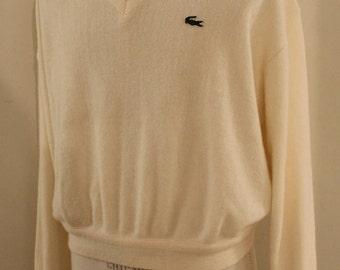 XL, vintage 1980's, cream colored Lacoste, Izod pullover sweater