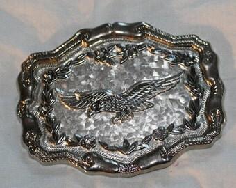 Eagle belt buckle in silver finish, vintage 1990's