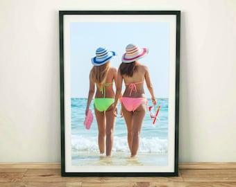 Women Printable, Beach Wall Print, Ocean Print, Sea Print, Fashion Decor, Beach Printable, Beach Print, Printable Wall Art, Coastal Print