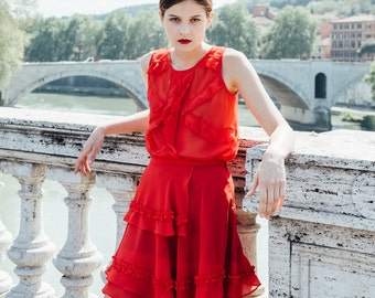 Silk red skirt