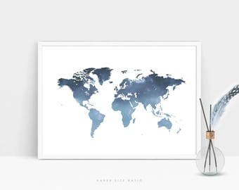 Instant download map etsy world map instant download map of the world art indigo blue girls boys nursery gumiabroncs Images