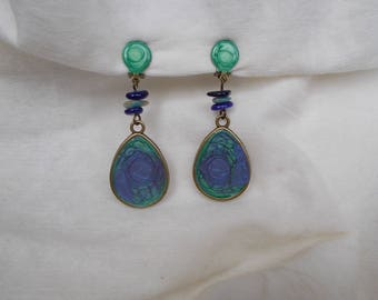 earring clips in green and purple
