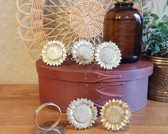 Vintage brass sunflower napkin ring set of 6.  Bohemian sunflower napkin rings