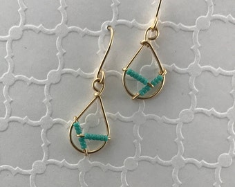 Gold Wire Earrings - Gold Filled - Wire Earrings - Beaded Earrings - Blue Earrings - Dangle Earrings - Modern Earrings