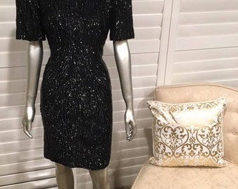 Vintage Black Sequin Mother of The Bride Dress Sz P10 Silk Short Sleeve Knee Length