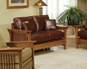Classic Stickley Style Mission Oak High Back Leather Loveseat / Settle