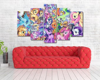 My Little Pony Kids Framed Canvas Print   Wall Art   Multi Panel   5 Panel Part 83