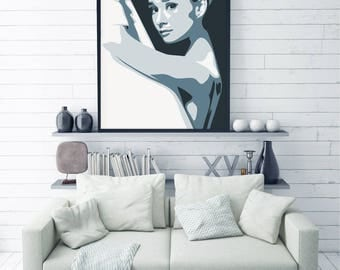 Audrey Hepburn Art, Wall Art, Printable Poster, Fashion Art, Audrey Print, Instant download, Large size, Wall Decor, Fashion Icon, Large Art